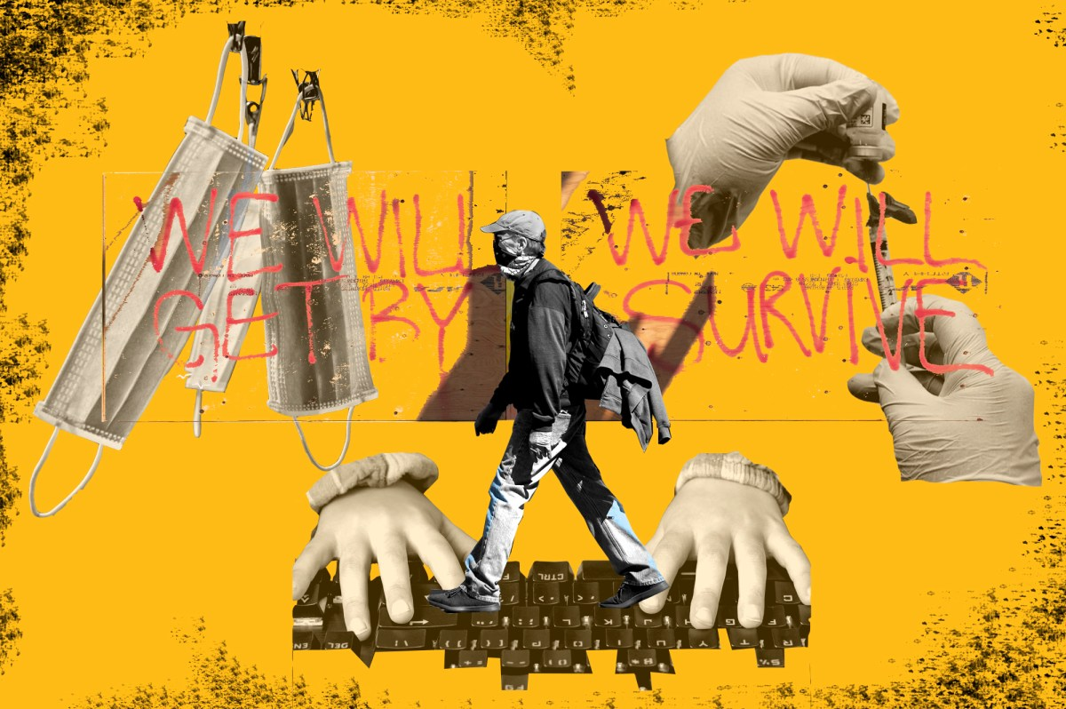 A photo illustratio shows someone walking past a vacant building, hands on a computer keyboard, masks and a vaccine. In March of 2020, Californians had no idea how much a new coronavirus would upend their way of life. This timeline highlights pivotal moments in the state's struggle to defeat a pandemic. Illustration by Anne Wernikoff, CalMatters; iStock