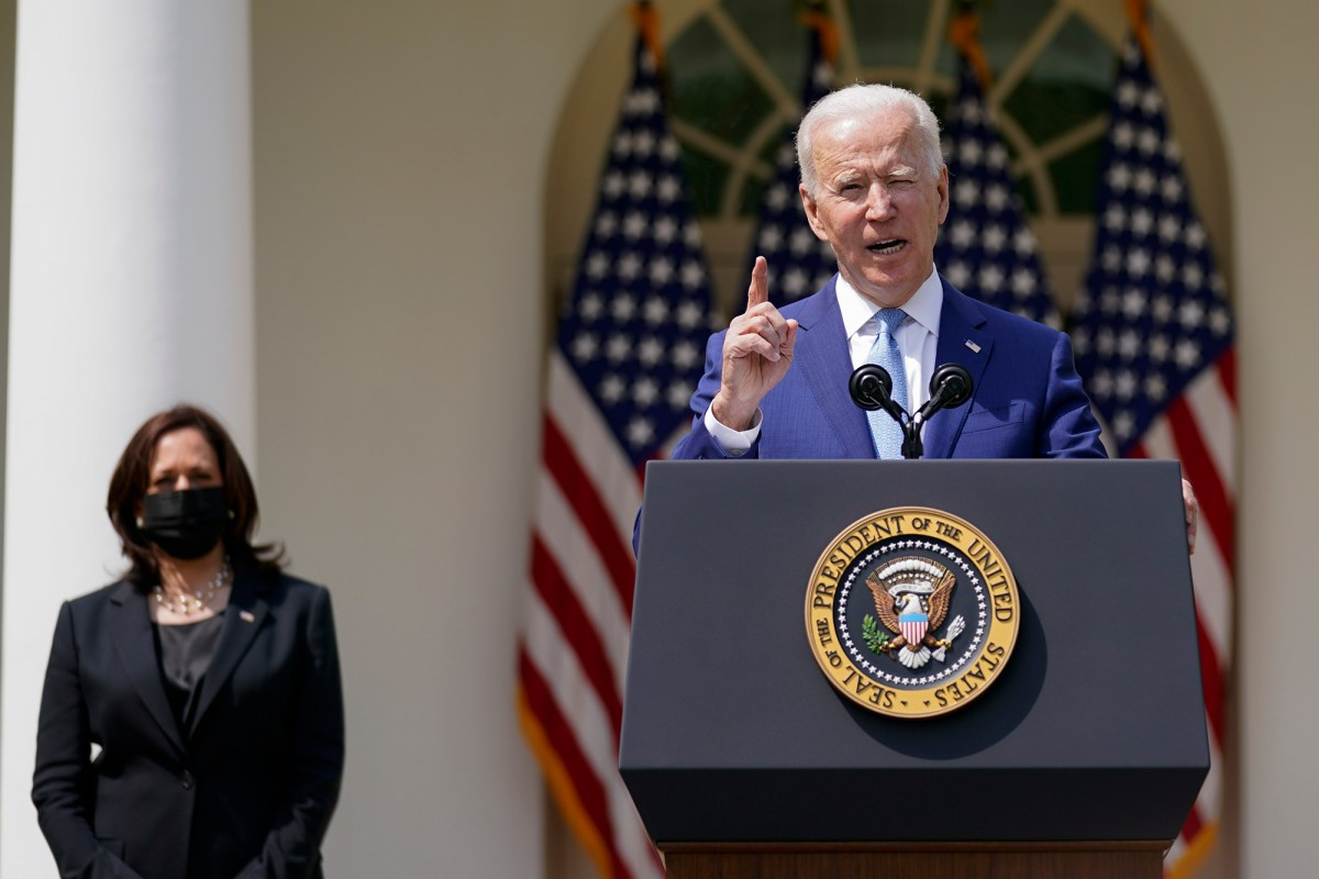 President Joe Biden, accompanied by Vice President Kamala Harris, speaks on gun violence prevention in the Rose Garden at the White House on April 8, 2021, in Washington, D.C. Photo by Andrew Harnik, AP Photo