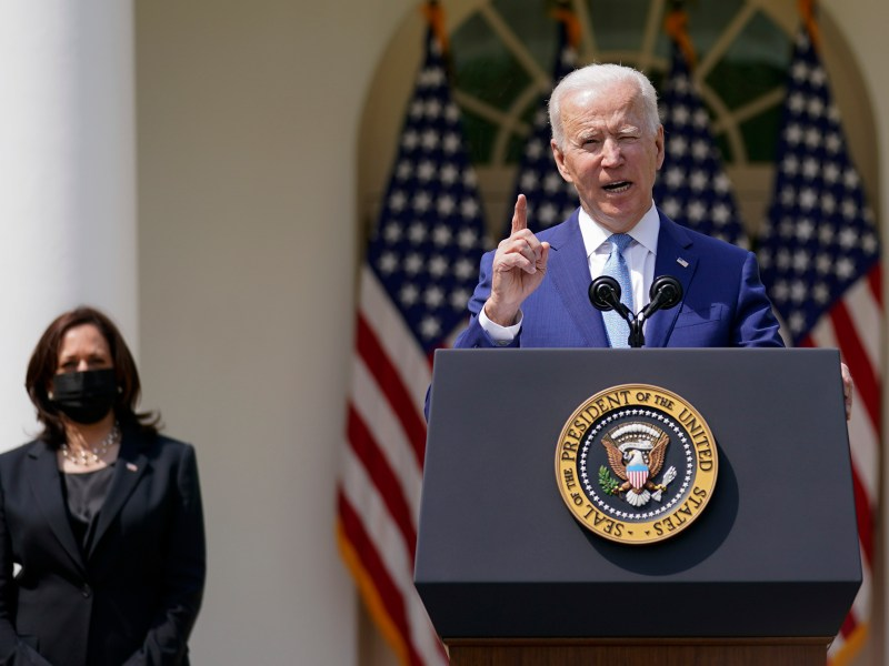 President Joe Biden, accompanied by Vice President Kamala Harris, speaks on gun violence prevention in the Rose Garden at the White House on April 8, 2021, in Washington, D.C. Photo by Andrew Harnik, AP Photo
