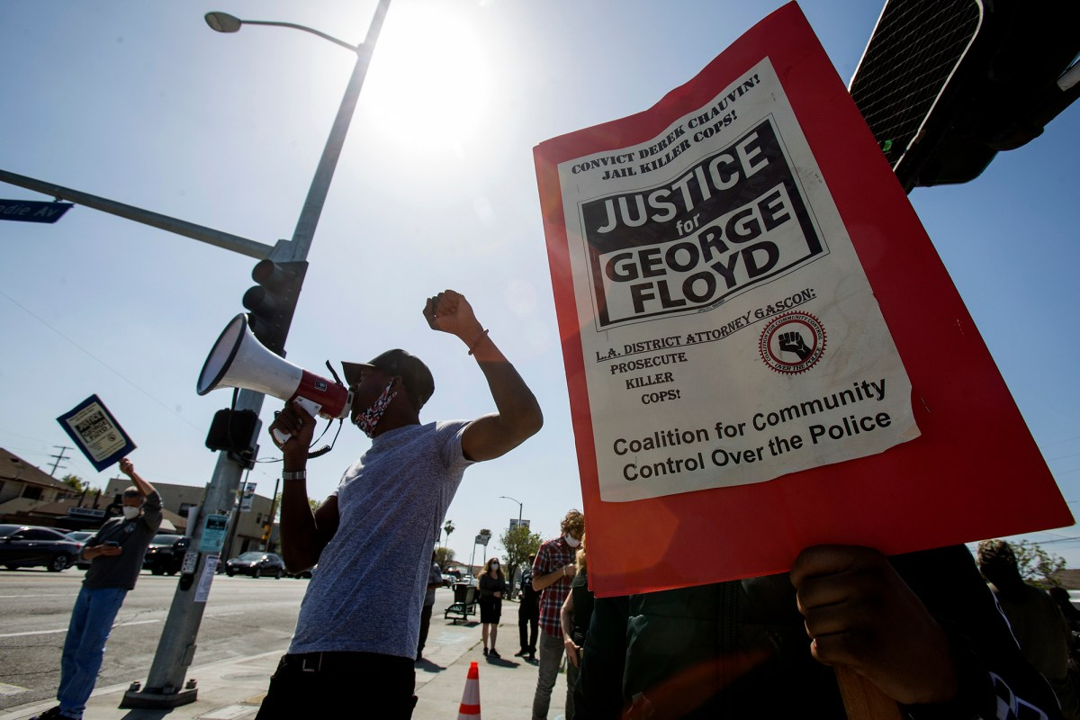 People take part in a rally after a guilty verdict was announced at the trial of former Minneapolis Police Officer Derek Chauvin for the 2020 death of George Floyd on April 20, 2021, in Los Angeles. Photo by Ringo H.W. Chiu, AP Photo