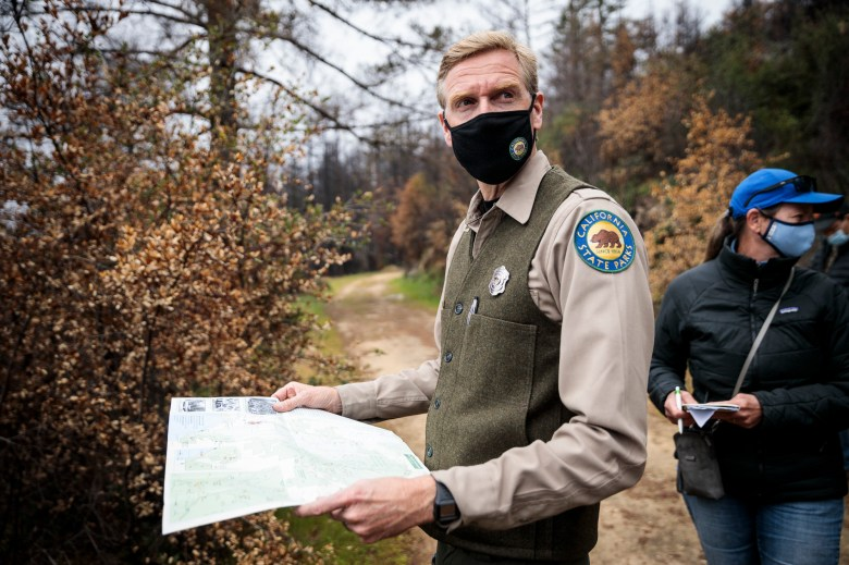 California State Parks District Superintendent Chris Spohrer leads a media tour in Big Basin Redwoods State Park in Boulder Creek on April 22, 2021. Most of the park burned in 2020's CZU Complex wildfire. Photo by Max Whittaker courtesy of Save the Redwoods League
