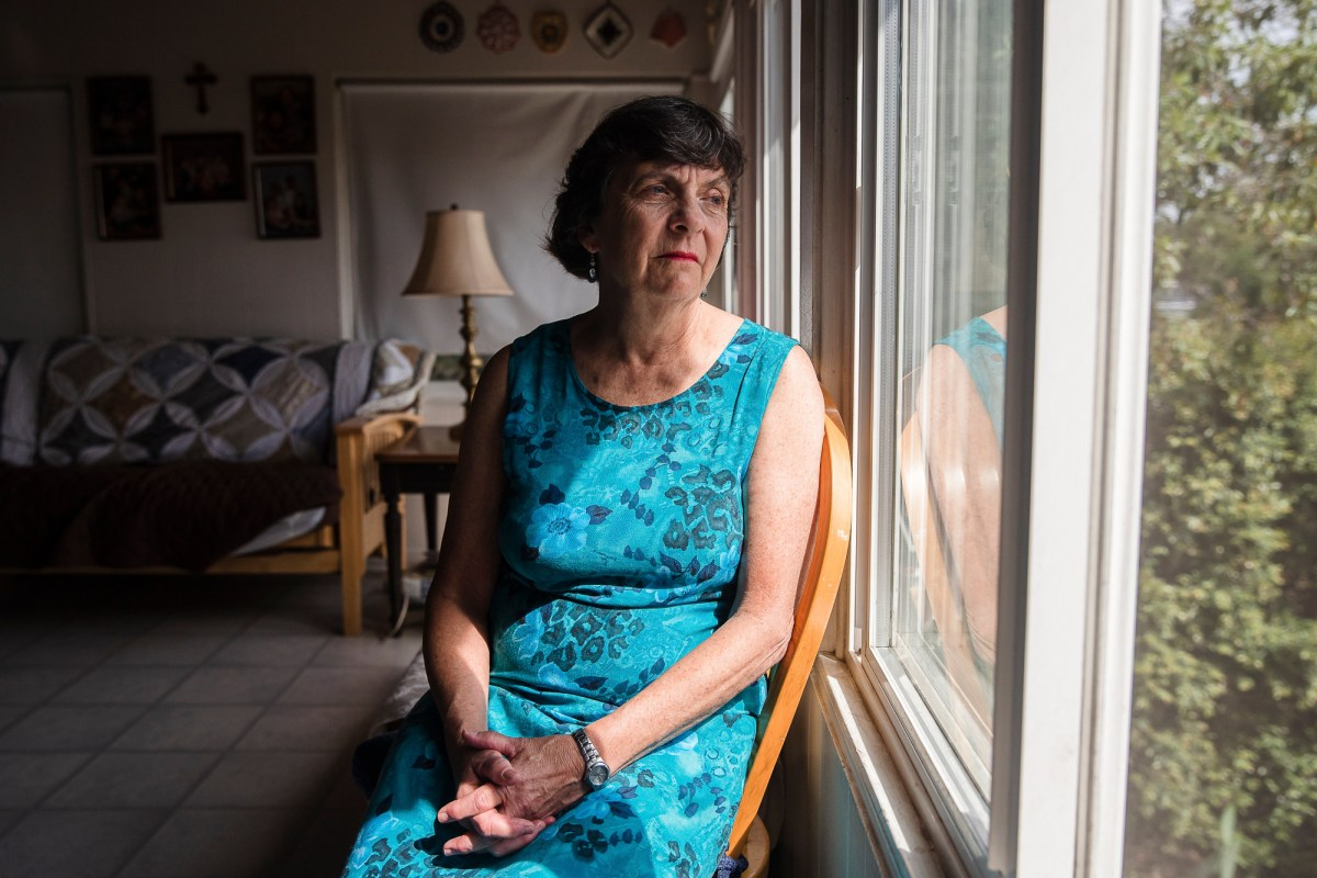 Kathleen Bils in her San Diego home on May 1, 2021, a year after her son was killed by a sheriff's deputy. Photo by Ariana Drehsler for CalMatters