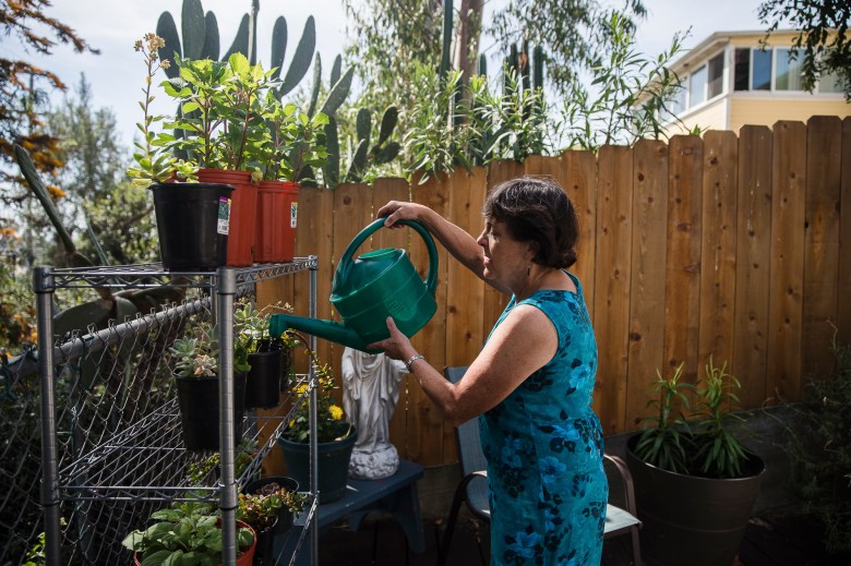 """Kathleen Bils waters her plants in the backyard of her home in North Park in San Diego, California on May 1, 2021. May 1st is exactly one year since Bils' son Nicholas """"Nicky"""" was shot and killed by a San Diego County Sheriff's Deputy after escaping a park ranger truck in handcuffs outside the county jail. Bils says that her son Nicky really cared about plants and animals. Photo by Ariana Drehsler for CalMatters"""