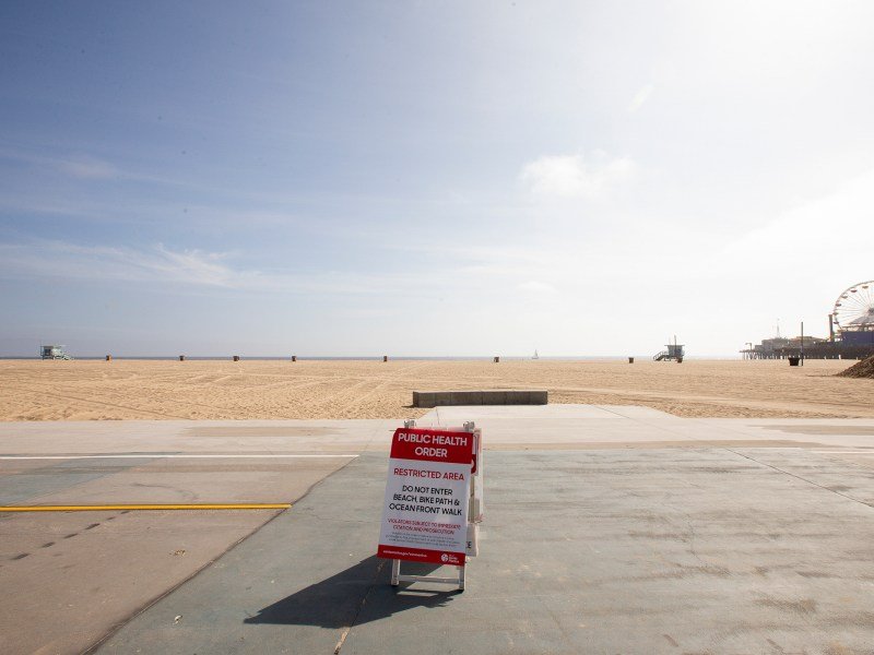 Santa Monica pier, beach and walkways are closed due to COVID-19, May 8, 2020. Photos by Lisa Hornak for CalMatters