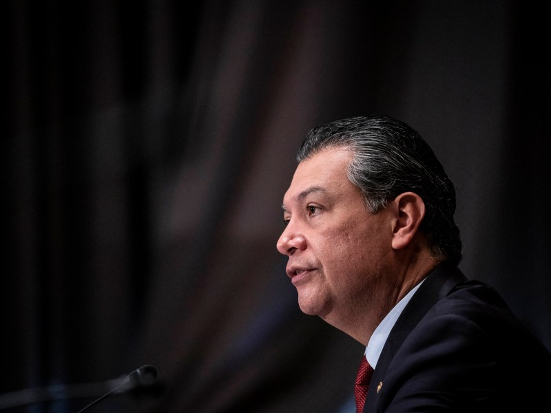 Sen. Alex Padilla speaks during a confirmation hearing for Xavier Becerra to be Secretary of Health and Human Services before the Senate Health, Education, Labor and Pensions Committee on Feb. 23, 2021 in Washington. Photo by Sarah Silbiger, Pool via AP