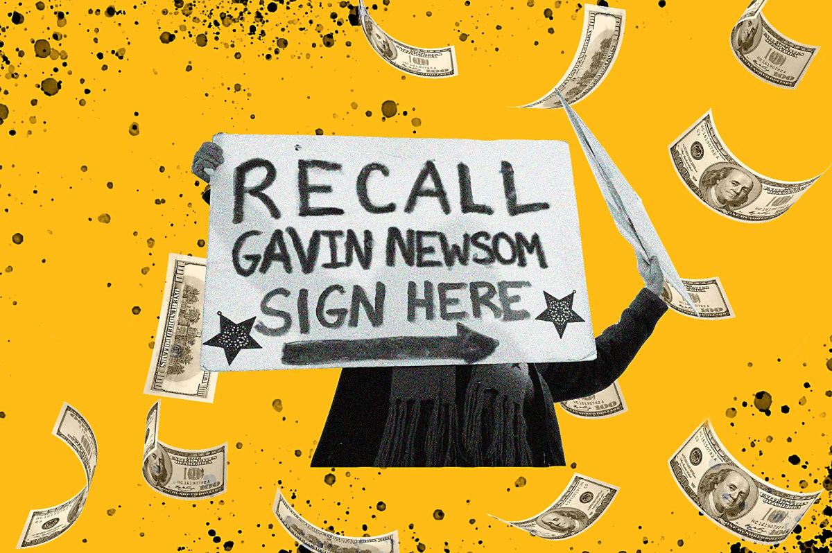 A recall campaign sign is surrounded by floating cash. As the campaign to recall Gov. Gavin Newsom gets underway, recall supporters have collected more donations but the governor has more ready to spend. Illustration by Anne Wernikoff, CalMatters; iStock