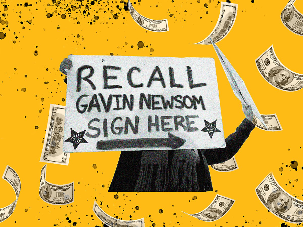 As the campaign to recall Gov. Gavin Newsom gets underway, recall supporters have collected more donations but the governor has more ready to spend. Illustration by Anne Wernikoff, CalMatters; iStock