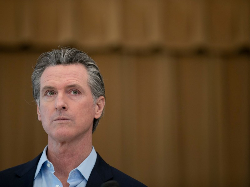 Gov. Gavin Newsom speaks to the press during a visit to Ruby Bridges Elementary School in Alameda on March 16, 2021. Photo by Anne Wernikoff, CalMatters