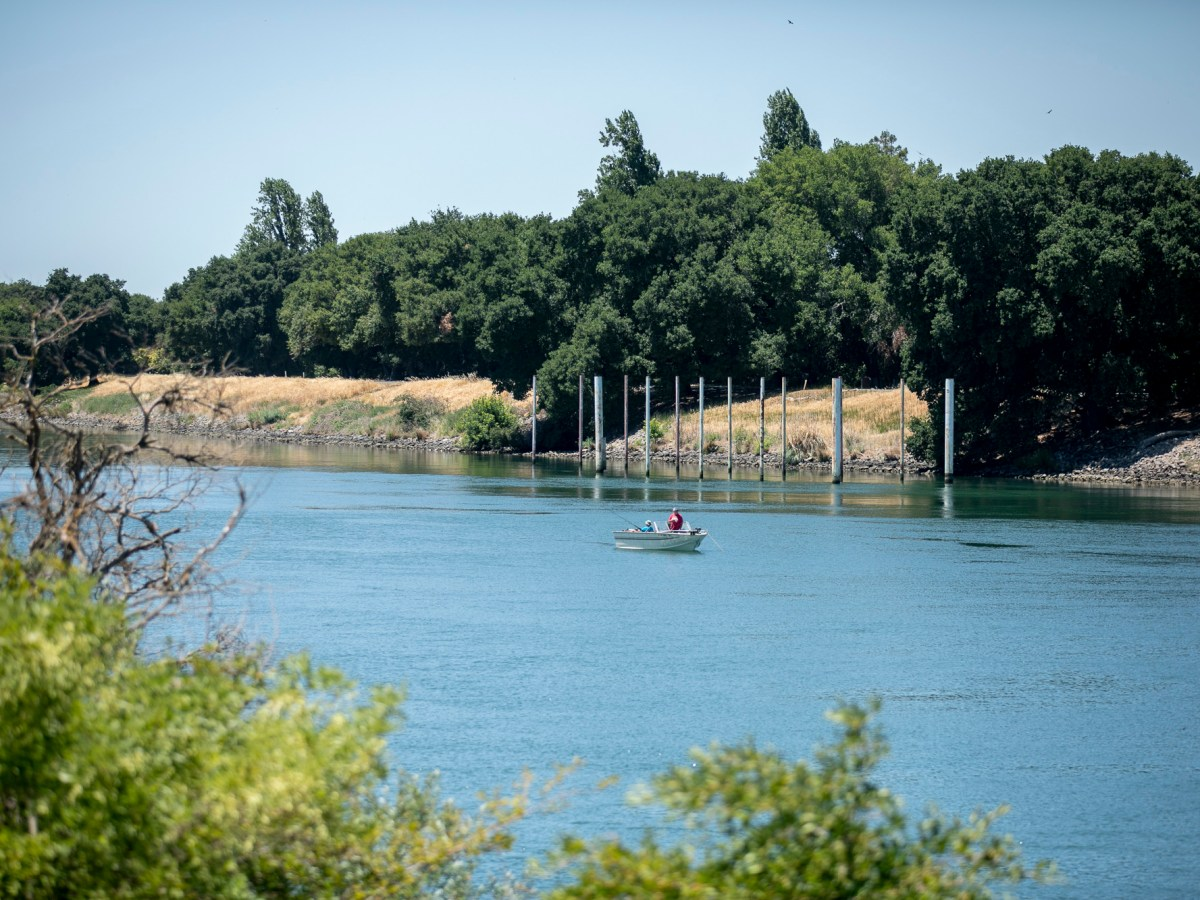 Boaters fishing on the Sacramento River outside of Isleton on June 15, 2021. The state has notified about 4,300 water users from Fresno to Sacramento to stop diverting water from the San Joaquin-Sacramento Delta. Photo by Anne Wernikoff, CalMatters