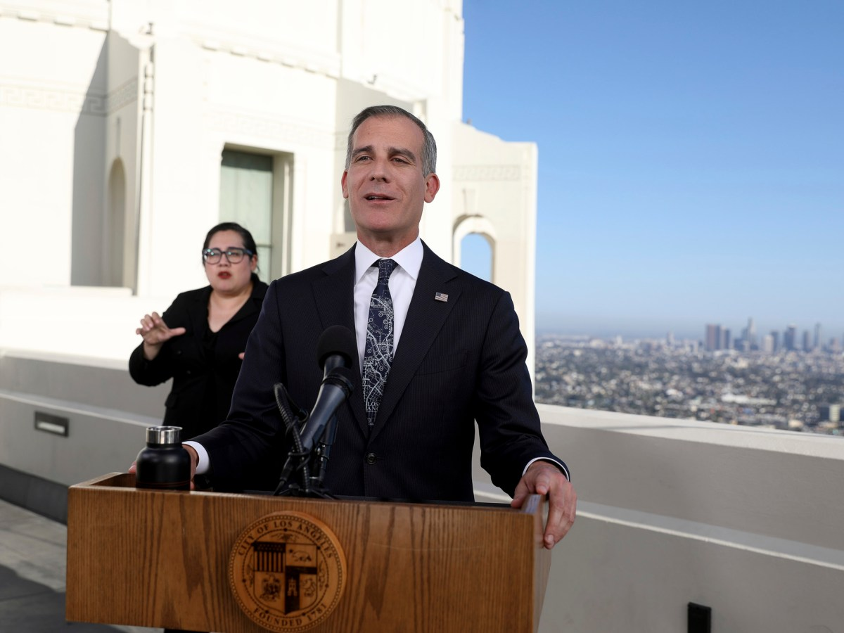 Mayor Eric Garcetti announced today Los Angeles will form a reparations committee as part of a national coalition with other big city mayors. Photo by Gary Coronado, Los Angeles Times via AP/Pool