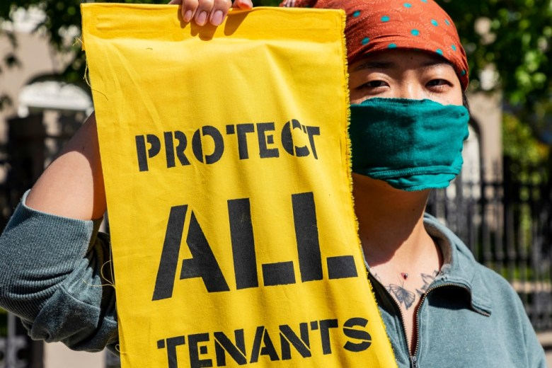 A tenants' rights group marches to the Los Angeles mayor's mansion to demonstrate for renter's rights on May 1, 2020. Photo by Ted Soqui, SIPA USA via AP Images