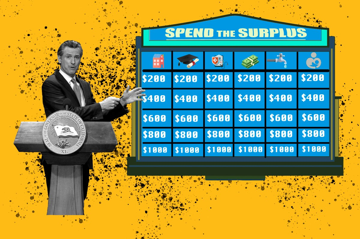 """Illustration shows Gov. Gavin Newsom before a Jeopardy board titled """"Spend the Surplus."""" It's a nice problem to have: California's multi-billion dollar budget surplus. How would you spend it? Illustration by Anne Wernikoff, CalMatters; iStock"""