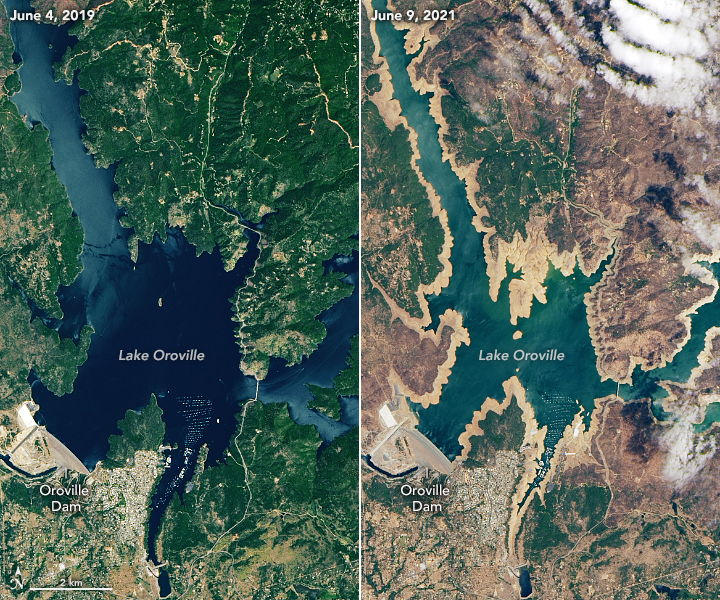 This satellite image shows how full Lake Oroville was in June 2019 and how shallow and dry it is in June 2021.