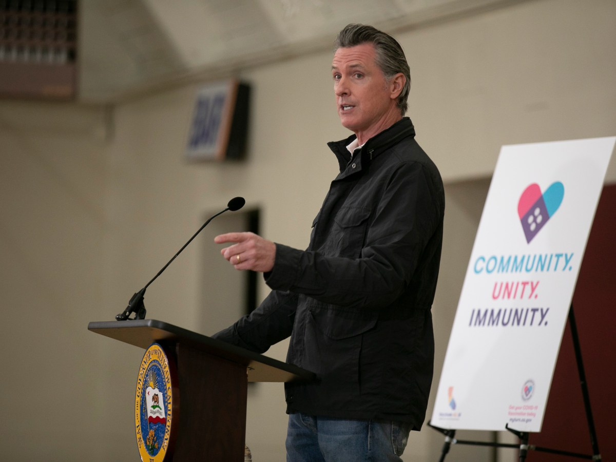 Gov. Gavin Newsom gives a press conference at Our Lady of the Rosary Church in Union City on April 15, 2021. Today, Newsom announced state employees and health care workers must be vaccinated or undergo weekly testing and wear masks. Photo by Anne Wernikoff, CalMatters