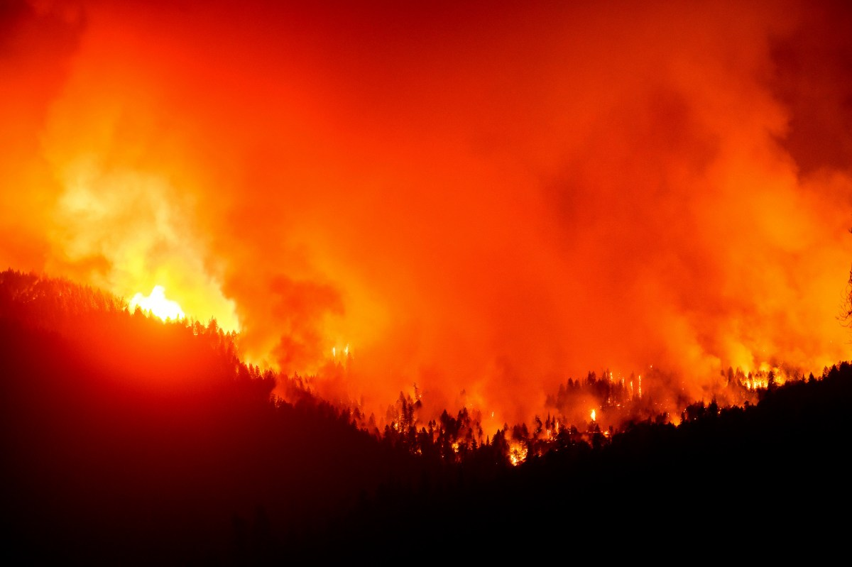 The August Complex Fire burns near Lake Pillsbury in the Mendocino National Forest on Sept. 16, 2020. Photo by Noah Berger, AP Photo
