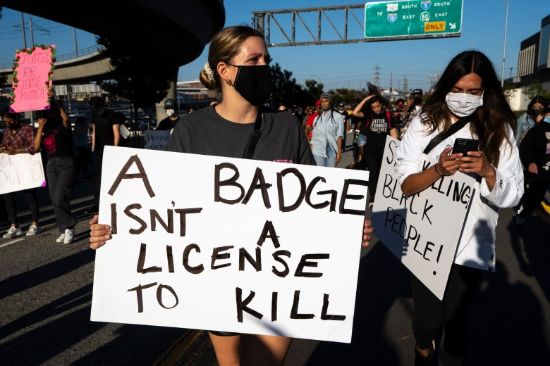 Demonstrators participating in an anti-police brutality protest following the killing of George Floyd, in Los Angeles on May 27, 2020. Photo by Ronen Tivony/Sipa USA via AP Images