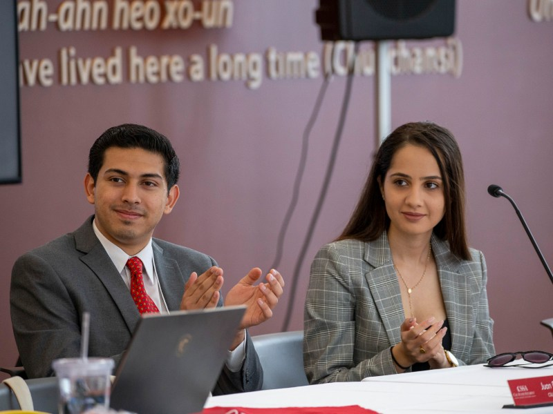 CSU Student Trustees Juan F. Garcia and Maryana Khames visit Fresno State University for a Cal State Student Association meeting in November 2019. The three higher education governing boards in California are moving to expand voting power for student representatives. Photo courtesy of California State Student Association