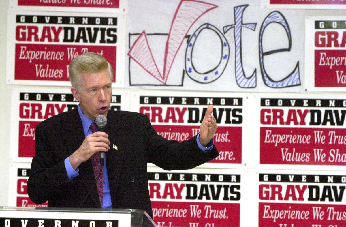 Then-Gov. Gray Davis speaks at the Long Beach Democratic headquarters at a get-out-the vote rally on Oct. 31, 2002. Davis lost the 2003 recall election to Arnold Schwarzenegger. Photo by Stephen Carr, The Long Beach Press Telegram via AP Photo