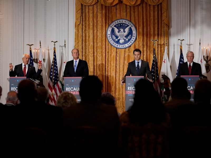 From left, Republican candidates for California Governor John Cox, Kevin Faulconer, Kevin Kiley and Doug Ose participate in a debate at the Richard Nixon Presidential Library, Aug. 4, 2021, in Yorba Linda. Photo by Marcio Jose Sanchez, AP Photo