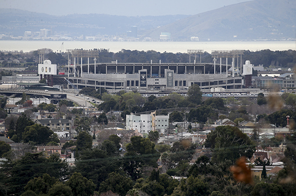 A view of the Coliseum is seen from the hills in East Oakland on Jan. 14, 2019. The Oakland Athletics have pitched a redevelopment plan for the Coliseum site. Photo by Jane Tyska, Bay Area News Group