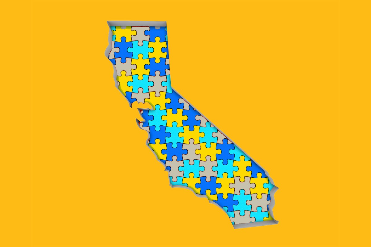 A map of California in puzzle pieces. The U.S. Census Bureau issued raw data from its 2020 count Image via iStock