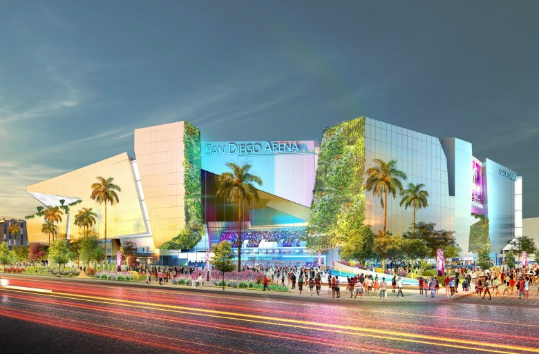Artistic rendering of the San Diego Arena. Image via Brookfield Properties press release