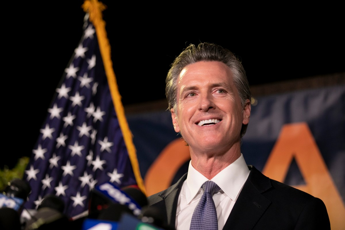 Gov. Gavin Newsom gives a speech following his projected victory in the recall election at the California Democratic Party headquarters in Sacramento on Sept. 14, 2021. Photo by Anne Wernikoff, CalMatters