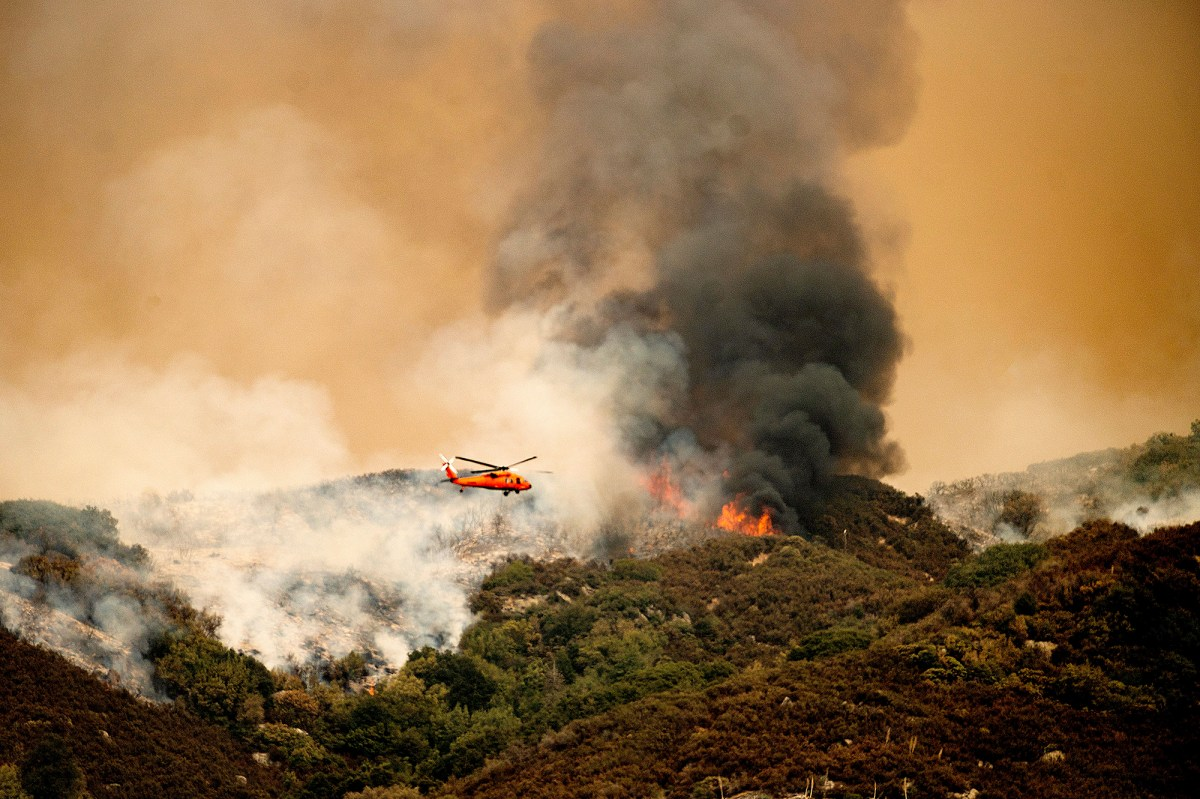 A helicopter prepares to drop water on the KNP Complex Fire in Sequoia National Park, on Sept. 15, 2021. Photo by Noah Berger, AP Photo