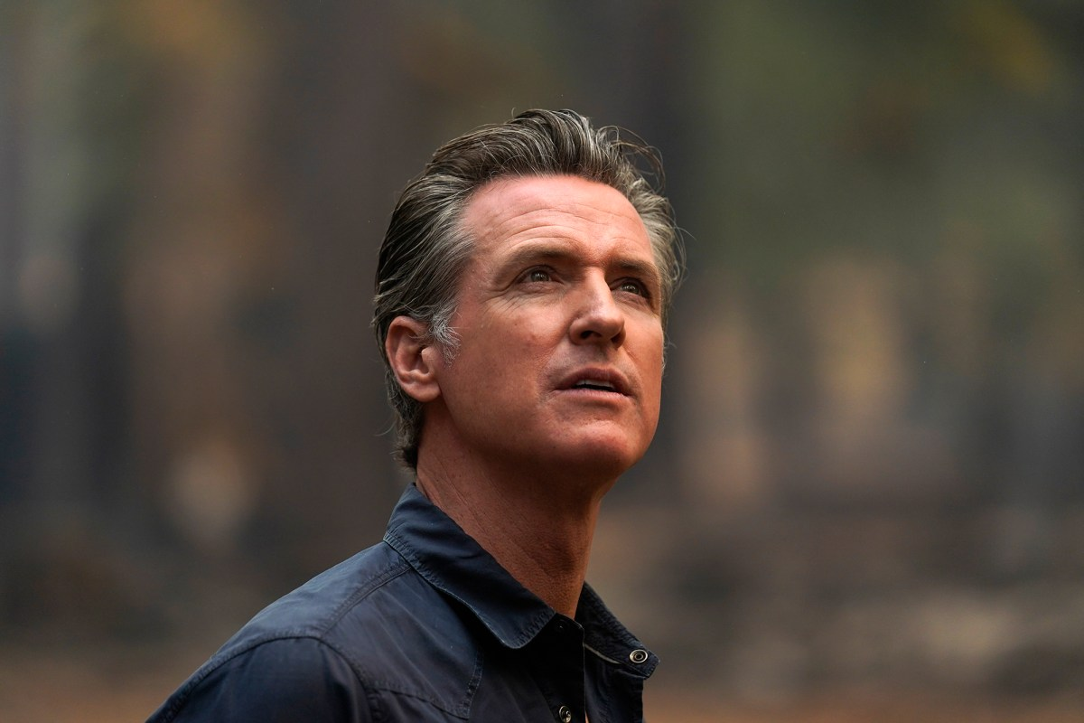 Gov. Gavin Newsom tours the area scorched on Sept. 1, 2021. Photo by Jae C. Hong, AP Photo