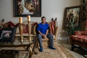 Dr. Shura Alexis Moreno in his home in Alta Loma on Sept. 13, 2021. Dr. Moreno was one of the COVID-19 patients to receive a lung transplant. Photo by Jessica Pons for CalMatters