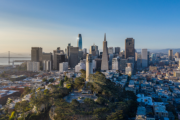 An aerial view of San Francisco. Getty Images/iStockphoto