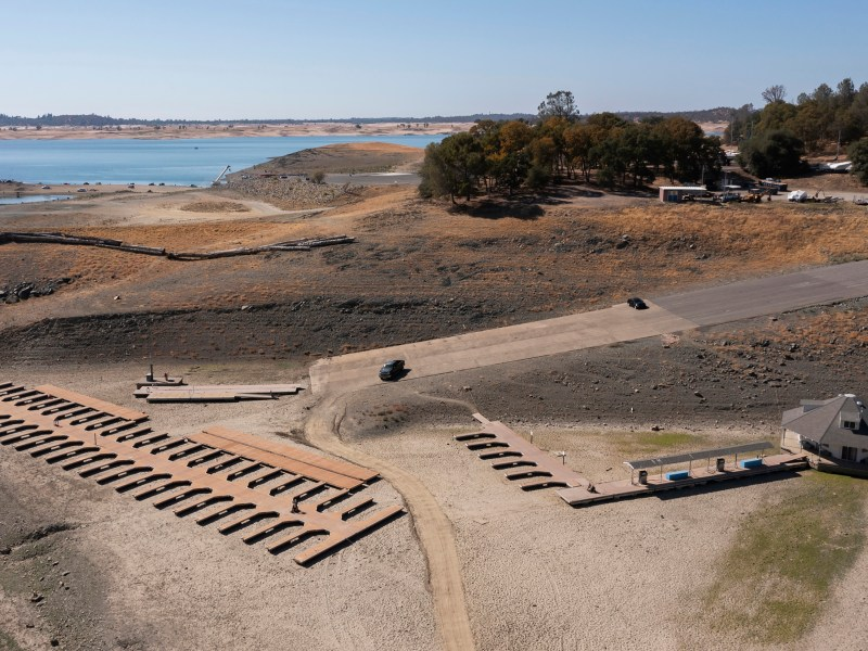 Aerial view of the severe drought conditions of Folsom Lake, a reservoir in Folsom. Image via iStock