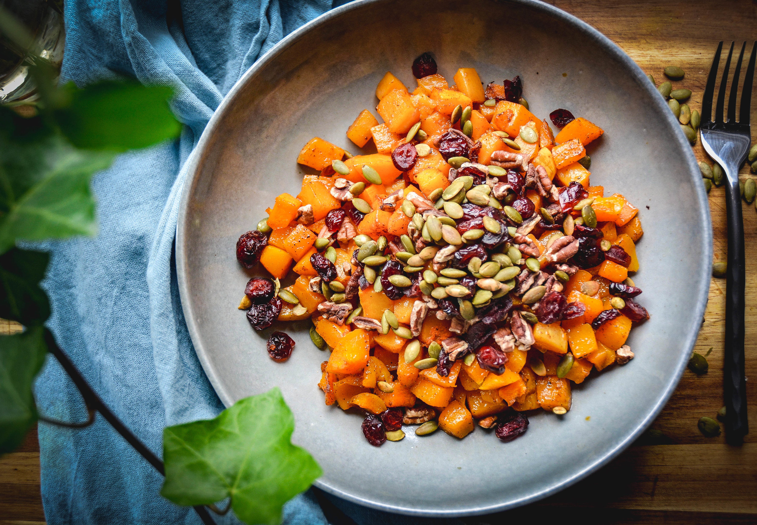 Cinnamon Roasted Butternut Squash with Cranberries