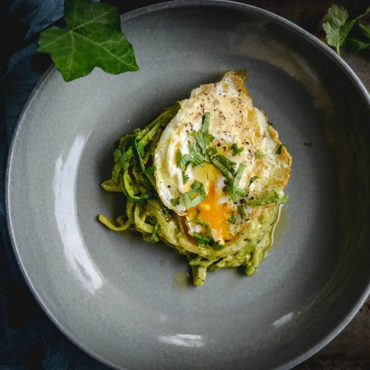 Easy Zoodles Recipe with Avocado Walnut Pesto and Egg