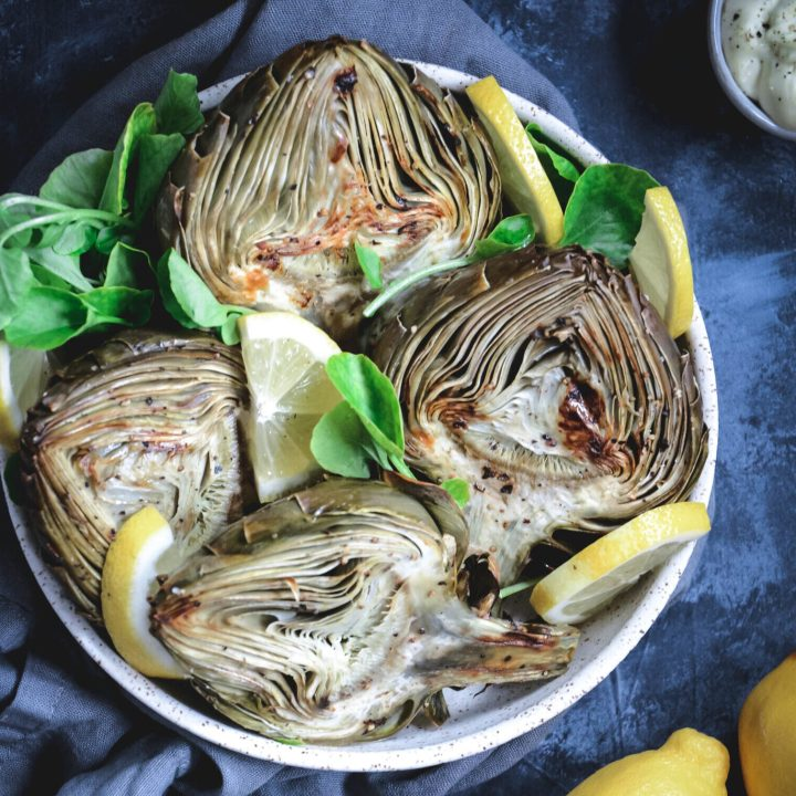 Roasted Artichokes with Lemon Aioli