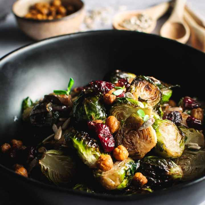 Balsamic Roasted Brussels Sprouts with Crispy Chickpeas
