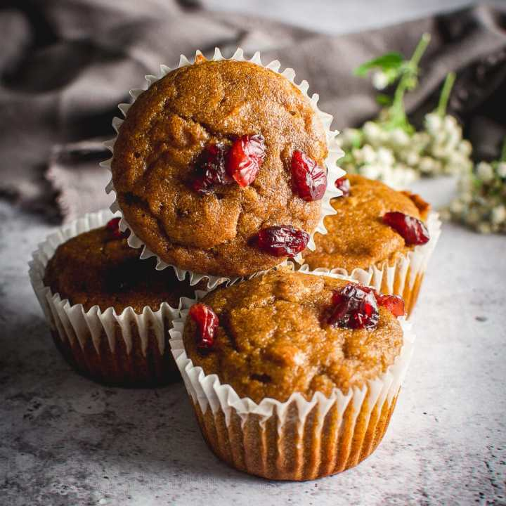 Healthy Grain-Free Cranberry Pumpkin Spice Muffins