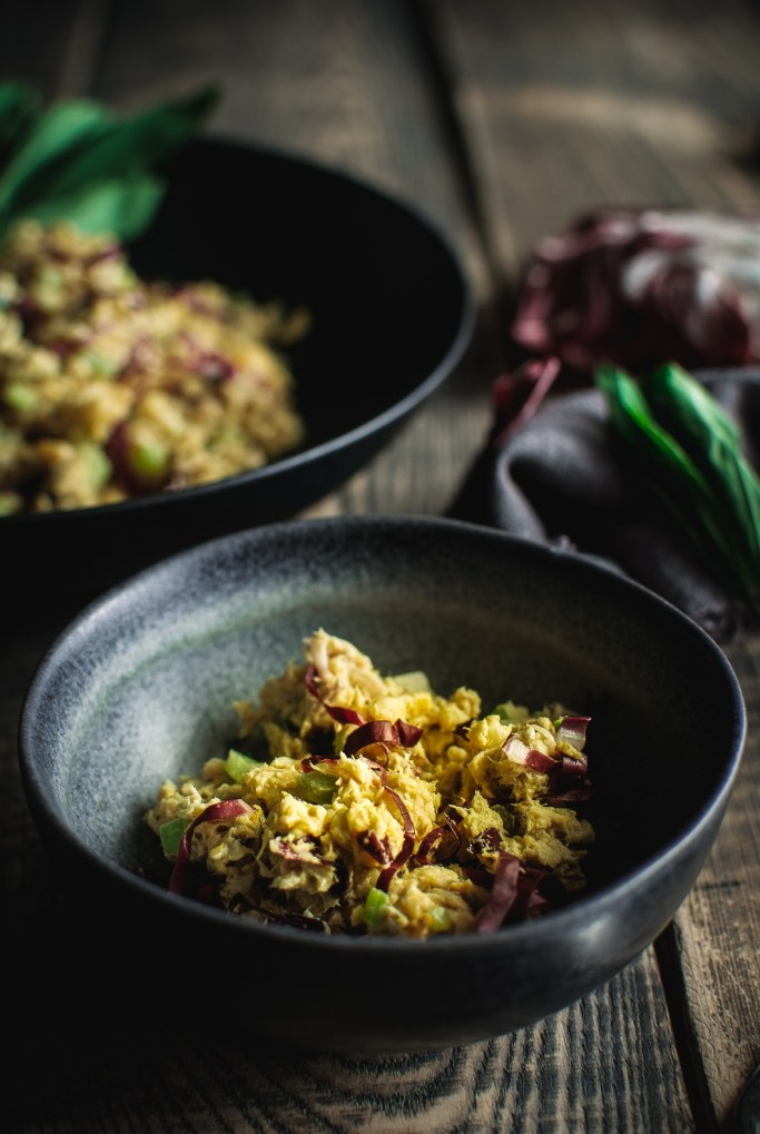 Quick Curried Tuna and Chickpea Salad with Tarragon in little bowl