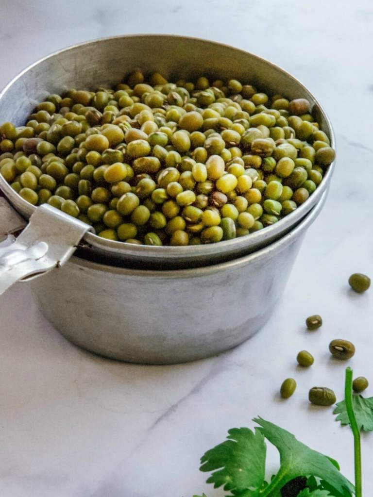 Mung beans in measuring cup