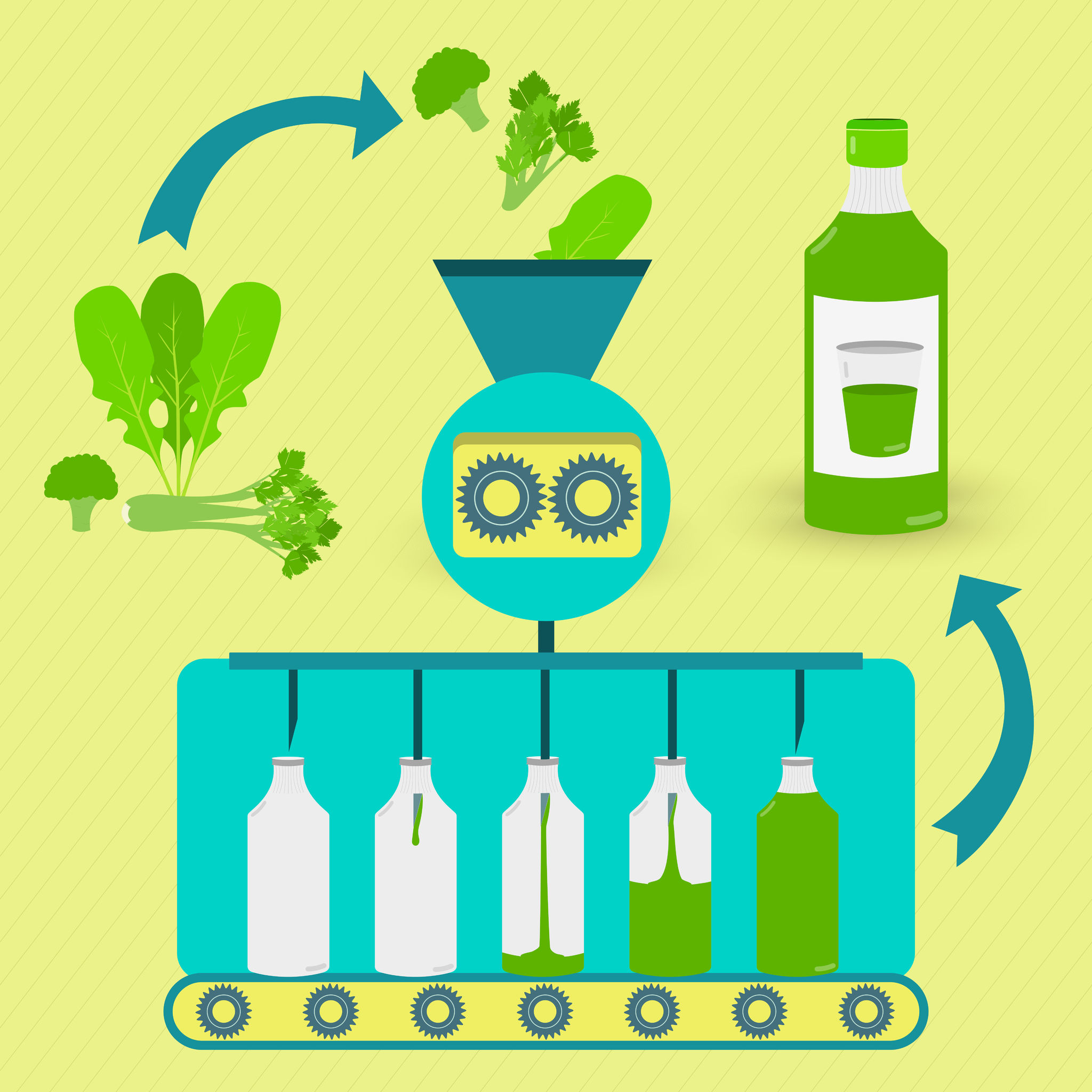 Image shows an idealized machine into which fruits and vegetables are fed and out of which comes a bottle of juice