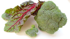 Image shows a close-up of cruciferous vegetable (broccoli) and red chard, used in the one pot meal recipe on CALMERme.com