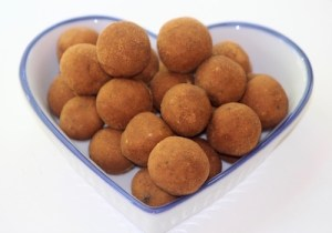 Image of ginger bliss balls, can help with anti-nausea effect due to the ginger, from calmerme.com