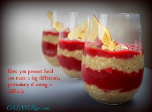Image of three pots of fruit and oats, with attention to presentation to encourage someone to want to eat them, if their appetite is bad. From CALMERme.com blog