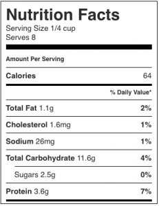 Image shows nutrition label for low fat (using goat cheese) mushroom pate, as described in this recipe on CALMERme.com