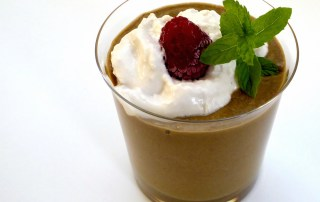 Image shows a healthy vegetable smoothie with a dollop of homemade soy yoghurt as described in this article about favorites on CALMERme.com