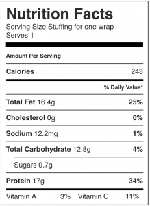 Image shows the nutrition label for a no-refined-carb lunch wrap, as described in this recipe on CALMERme.com
