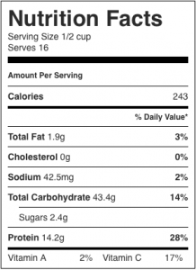 Image shows nutrition label for a black bean salad recipe as described in this recipe on CALMERme.com