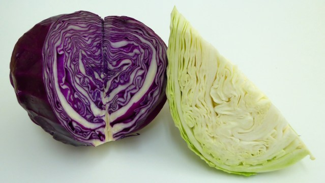 Image shows wedges of green and red cabbage which are used in this recipe on CALMERme.com
