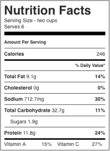 The image shows the nutrition label for Moroccan spiced chickpea soup, as described in this recipe on CALMERme.com