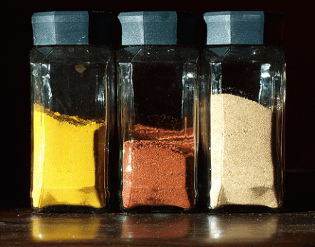 The image shows spices in jars, similar to those used in this recipe on CALMERme.com